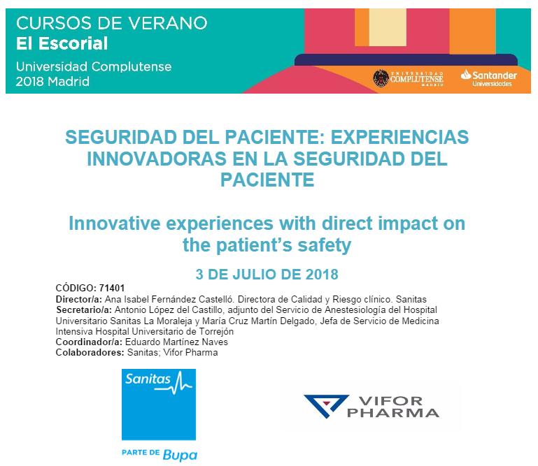 Curso De Verano De El Escorial Experiencias Innovadoras En La Seguridad Del Paciente Proyecto Hu Ci